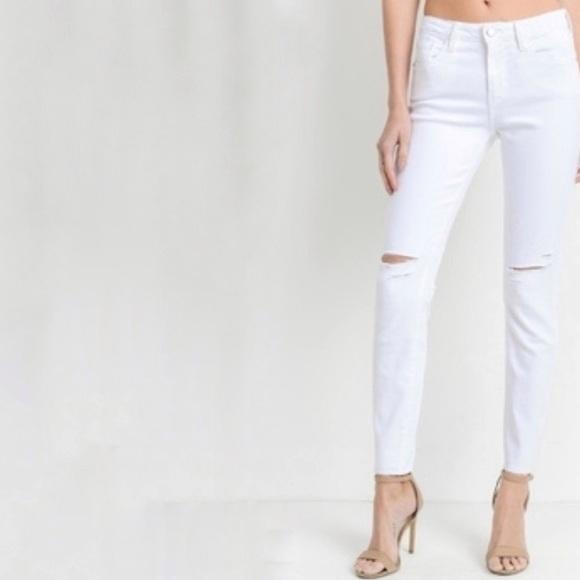 Just Black Denim - Just black white multi slit distressed skinny jean